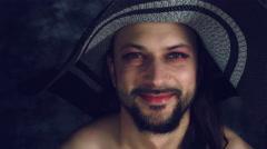 4k LGBT Shot of Transvestite Happy Man Dresses as Woman Smiling Stock Footage