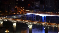 China Chongqing overhead aerial night view of road bridges  Stock Footage