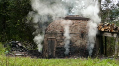 Charcoal production, Slow motion Stock Footage
