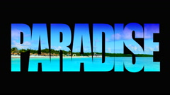 4K Paradise Island, Animated Matte Broadcast Design Sign Blue Ocean Stock Footage