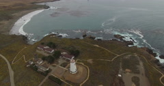 AERIAL: Circling a Lighthouse on the Coast Stock Footage