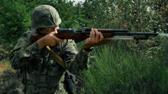 4K Loud Gun Shot, Military Soldier Firing Rifle, Army Man Shooting Stock Footage