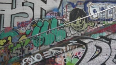 Youth culture, street art district Stock Footage
