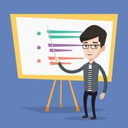 Teacher or student standing in front of board Stock Illustration