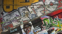Colorful street art on staicase Stock Footage