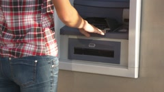 Money withdrawal from ATM Stock Footage