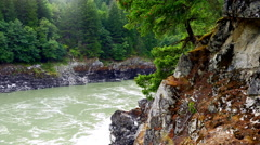 4K Blue Mountain River Landscape, Nature Water View Forest Stock Footage