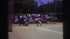 1972: watching the game winning hit of the summertime little league game Stock Footage
