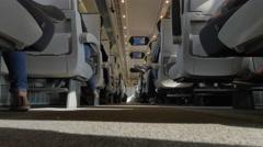 4K Train Aisle, Fast Modern Rail Transport, Seats in Passenger Train Stock Footage