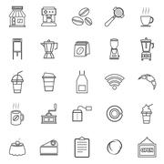 Coffee shop line icons on white background Stock Illustration