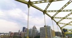 Reverse View of Pittsburgh Skyline as Seen from Fort Duquesne Bridge  	 Stock Footage