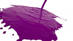 Purple liquid flow covers a surface in slow motion. Colored paint Stock Footage