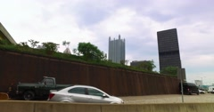 Driving Past Pittsburgh's Golden Triangle and Point State Park  	 Stock Footage