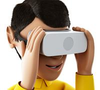 3d Man playing with virtual reality glasses. Stock Illustration