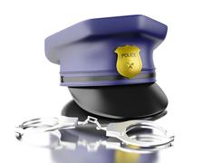 3d Blue officer cop cap with handcuffs. Stock Illustration