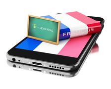 3d Smartphone with french book. Learning languages. Stock Illustration