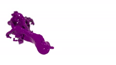 Purple fluid splash in slow motion with DOF. Colored paint Stock Footage