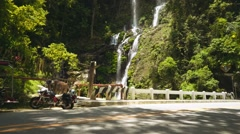 Tamaraw falls viewed from road in Puerto Galera, Philippines, pan Stock Footage