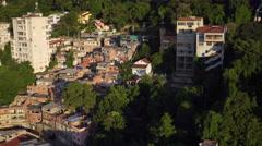 Aerial Rio de Janeiro, Santa Teresa Hill and Prazeres slum (favela) Brazil Stock Footage