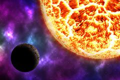 Arid planet on space with colorful nebula Stock Illustration