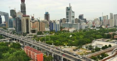 4k,heavy traffic through BeiJing central business district,urban building. Stock Footage
