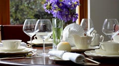 Elegant dinner party table setting. Stock Footage