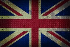 United kingdom flag on seamless diamond plate metal background. Stock Illustration