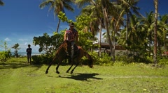 Cowboy man riding horse between palm trees close to beach Stock Footage