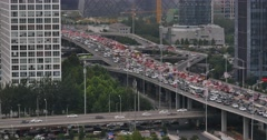 4k,heavy traffic through BeiJing central business district  Stock Footage