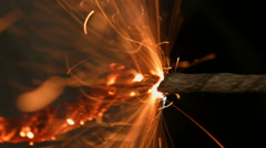 Safety fuse. Igniter blasting. Explosive charges ignition method. Stock Footage