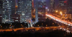 4k,heavy traffic through BeiJing central business district at night,urban build Stock Footage