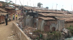 Polluted water flowing in an unhealthy slum. Stock Footage