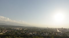 Sunset over Almaty. Panorama. View from Kok-Tobe. Kazakhstan Stock Footage