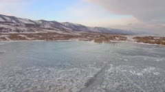 Aerial survey from the air. Winter. Lake Baikal. Small sea Stock Footage