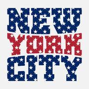 T shirt typography New York blue red star Stock Illustration