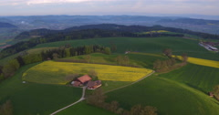 Aerial Shot of Rapeseed Farming in the Swiss Midland, 4K, UHD Stock Footage