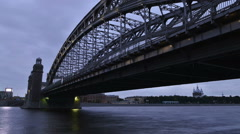 St. Petersburg Bolsheokhtinsky bridge, time-lapse photography Stock Footage