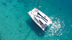 Group of people relaxing on a catamaran Stock Footage