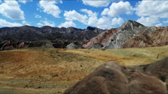 Pan of danxia landform in Zhangye, China. Stock Footage