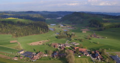 Aerial Shot of the Swiss midland during springtime, 4K, UHD Stock Footage