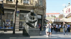 Nikola Tesla bronze statue. Stock Footage