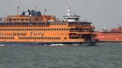 Two Staten Island ferries crossing, New York, United States. Stock Footage