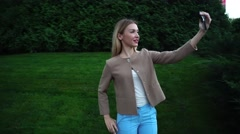 Young Beautiful Blond Female Makes Selfie Phone Smiling Posing Stock Footage