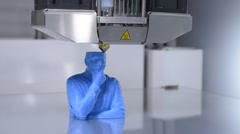 3D - printer working, printing a human bust - Close Up Stock Footage