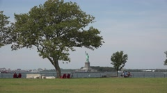 The Statue of Liberty, New York, United States from Governors Island. Stock Footage