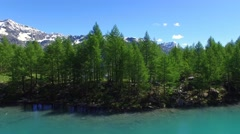 Alpine lake and forest in summer Stock Footage