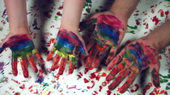 4k LGBT Symbol Composition of Human Hand Painting Rainbow Stock Footage