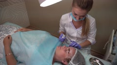 Beautician Makes Procedure Patient Draws Eyebrows Mikrobleyding Client Stock Footage