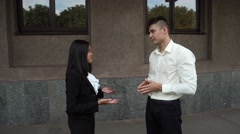 Young Beautiful Business Woman Female Girl and Caucasian Male Portrait Talk Stock Footage