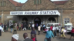 Crowded Nairobi railway station. Stock Footage
